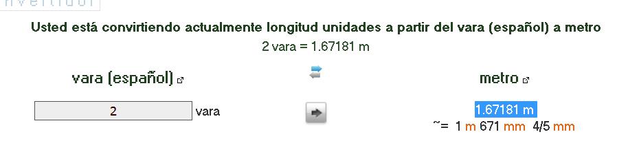 Convertir vara (español) en metros - longitud convertidor