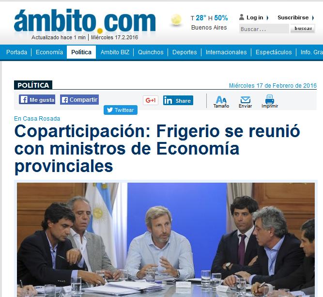 Coparticipación Frigerio se reunió con ministros de Economía provinciales - Ambito.com