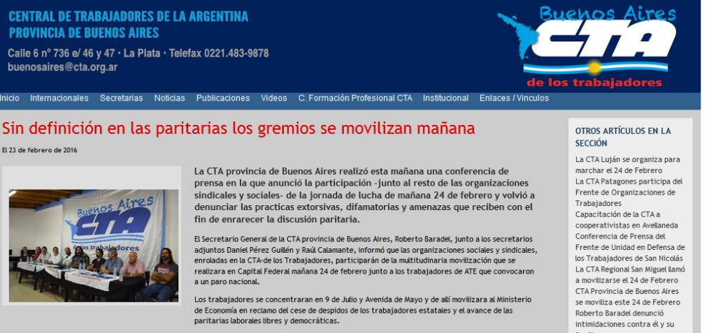 CTA Provincia de Buenos Aires Sin definición en las paritarias los gremios se movilizan mañana