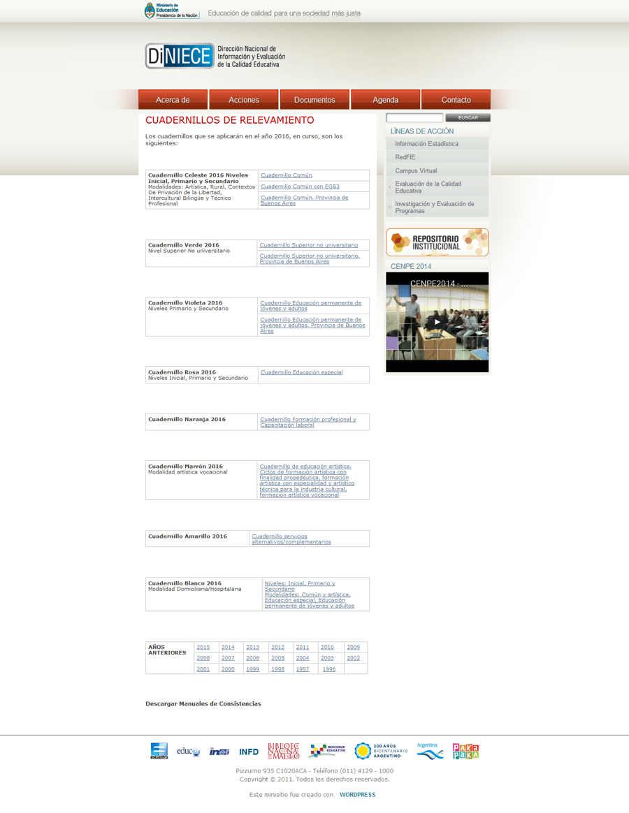 CUADERNILLOS DE RELEVAMIENTO - Dirección Nacional de Información y Evaluación de la Calidad Educativa
