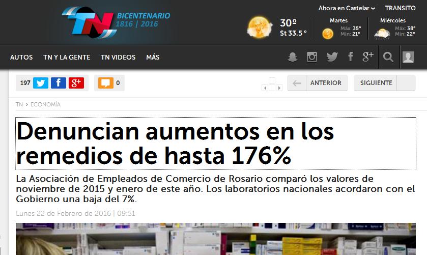 Denuncian aumentos en los remedios de hasta 176% - TN.com.ar