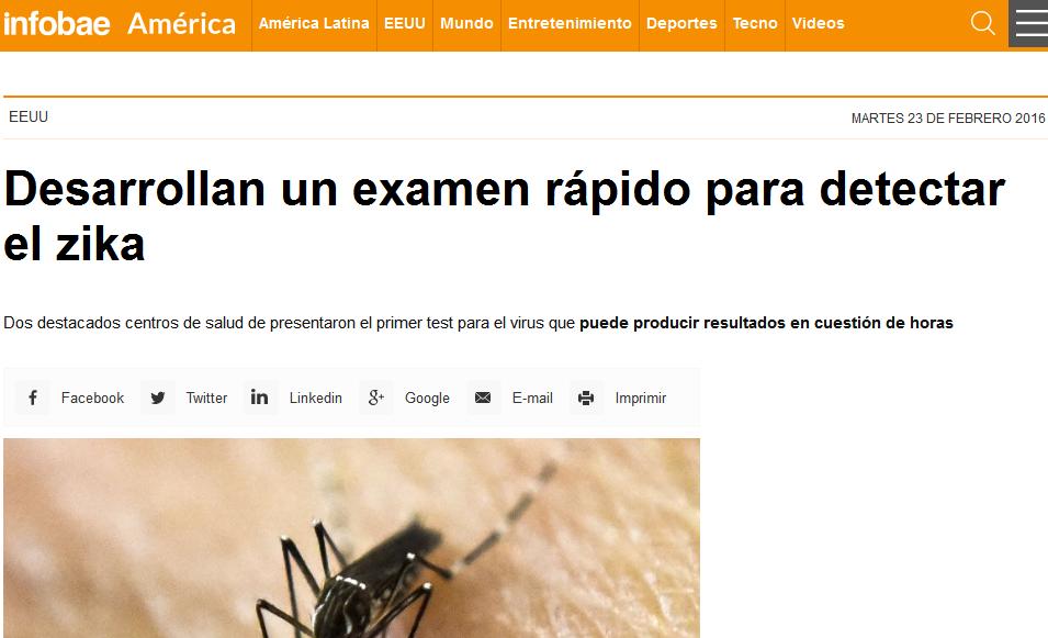 Desarrollan un examen rápido para detectar el zika - zika - América