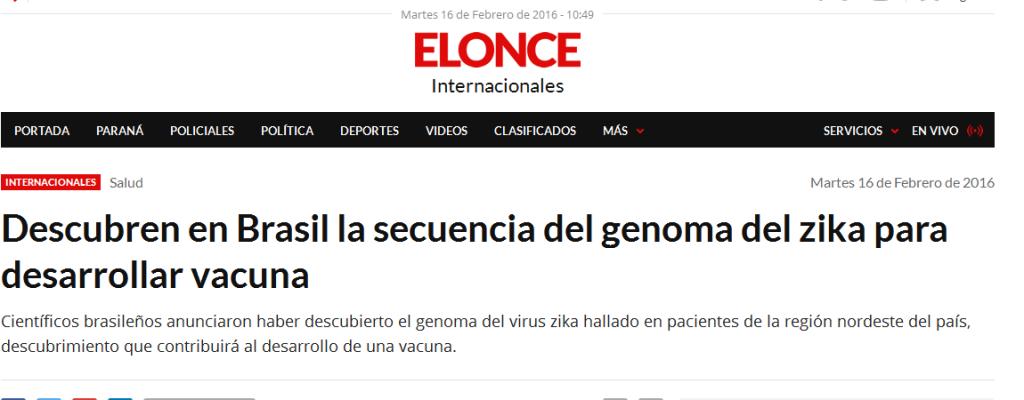 Descubren en Brasil la secuencia del genoma del zika para desarrollar vacuna - Internacionales - Elonce.com