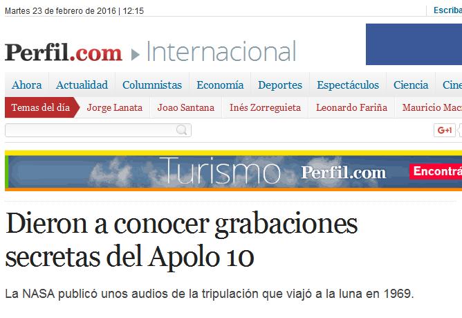 Dieron a conocer grabaciones secretas del Apolo 10