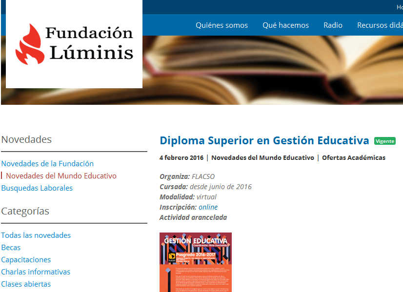 Diploma Superior en Gestión Educativa - Fundación Luminis