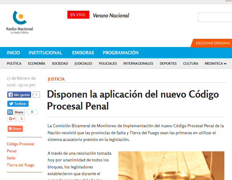 Disponen la aplicación del nuevo Código Procesal Penal - Radio Nacional Argentina. La Radio Pública.