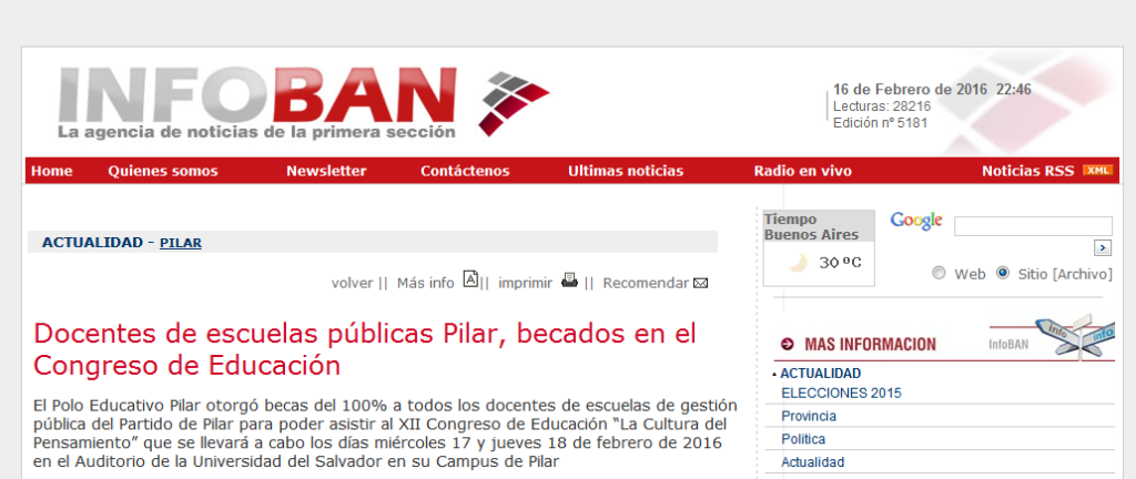 Docentes de escuelas públicas Pilar, becados en el Congreso de Educación - Agencia de Noticias InfoBAN