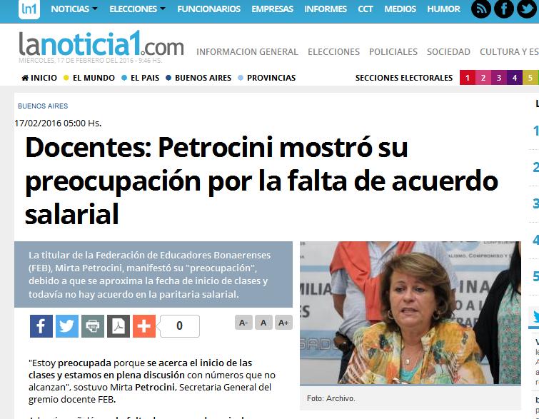 Docentes Petrocini mostró su preocupación por la falta de acuerdo salarial - LaNoticia1.com