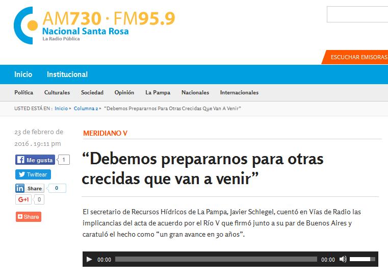 """""""Debemos prepararnos para otras crecidas que van a venir"""" - Radio Nacional Santa Rosa"""