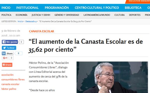 """""""El aumento de la Canasta Escolar es de 35,62 por ciento"""" - Radio Nacional Mendoza"""
