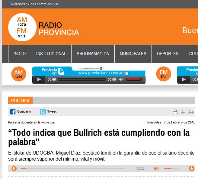 """""""Todo indica que Bullrich está cumpliendo con la palabra"""" - Radio Provincia"""