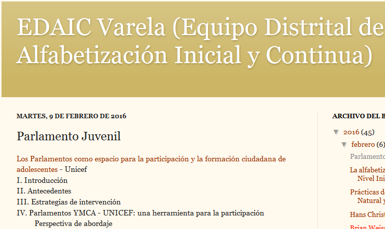 EDAIC Varela (Equipo Distrital de Alfabetización Inicial y Continua) Parlamento Juvenil