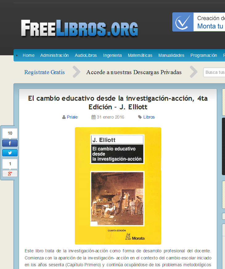 El cambio educativo desde la investigación-acción, 4ta Edición – J. Elliott - FreeLibros