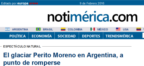El glaciar Perito Moreno en Argentina, a punto de romperse
