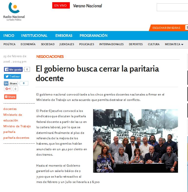 El gobierno busca cerrar la paritaria docente - Radio Nacional Argentina. La Radio Pública.
