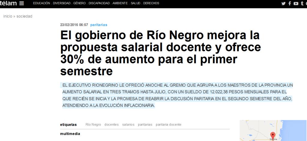 El gobierno de Río Negro mejora la propuesta salarial docente y ofrece 30% de aumento para el primer semestre - Télam - Agencia Nacional de Noticias