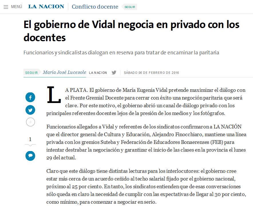 El gobierno de Vidal negocia en privado con los docentes - 06.02.2016 - LA NACION