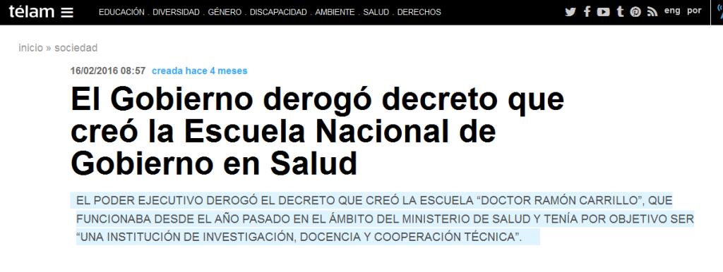 El Gobierno derogó decreto que creó la Escuela Nacional de Gobierno en Salud - Télam - Agencia Nacional de Noticias