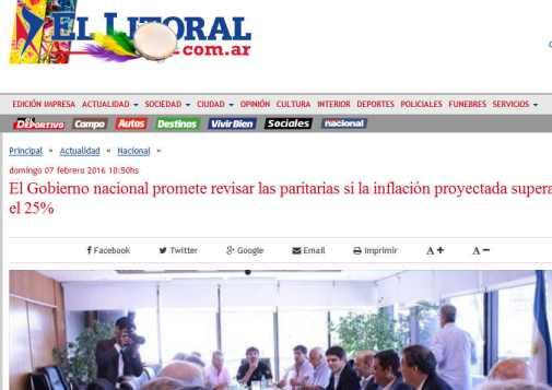 El Gobierno nacional promete revisar las paritarias si la inflación proyectada supera el 25% - Diario El Litoral - Corrientes