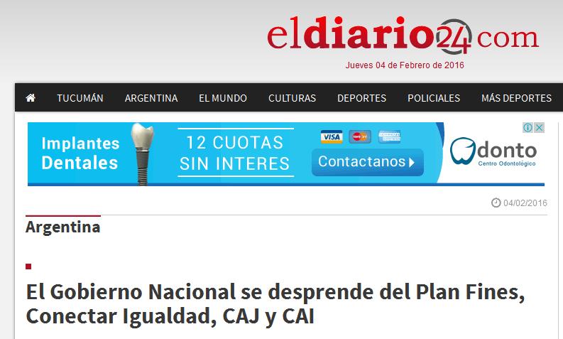 El Gobierno Nacional se desprende del Plan Fines, Conectar Igualdad, CAJ y CAI - El Diario 24