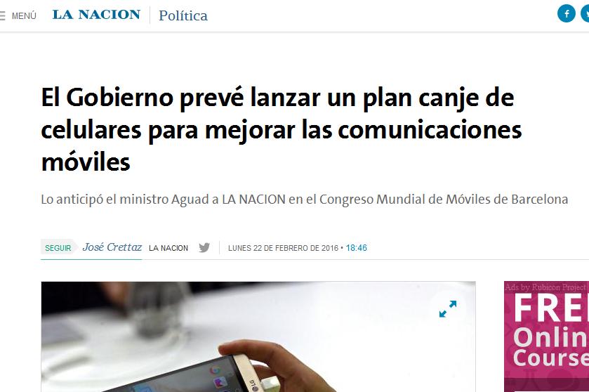 El Gobierno prevé lanzar un plan canje de celulares para mejorar las comunicaciones móviles - 22.02.2016 - LA NACION