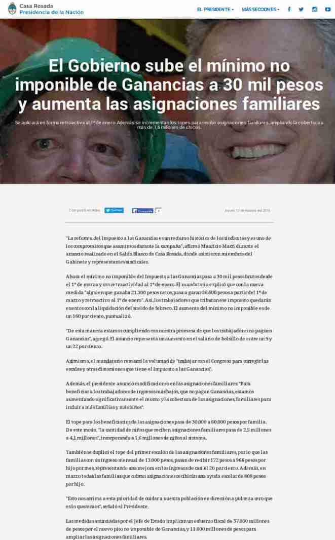 El Gobierno sube el mínimo no imponible de Ganancias a 30 mil pesos y aumenta las asignaciones familiares(1)