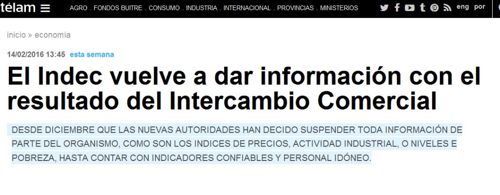El Indec vuelve a dar información con el resultado del Intercambio Comercial - Télam - Agencia Nacional de Noticias