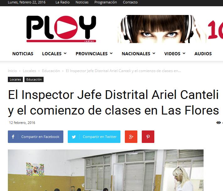 El Inspector Jefe Distrital Ariel Canteli y el comienzo de clases en Las Flores- Noticias de Las Flores