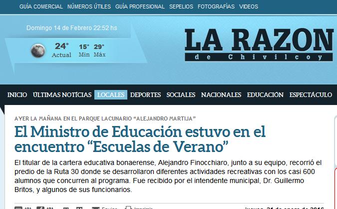 """El Ministro de Educación estuvo en el encuentro """"Escuelas de Verano"""" - La Razon de Chivilcoy"""