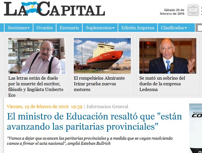 El ministro de Educación resaltó que 'están avanzando las paritarias provinciales' - Informacion General - La Capital de Rosario -