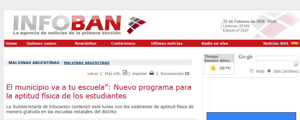 """El municipio va a tu escuela"""" Nuevo programa para la aptitud física de los estudiantes - Agencia de Noticias InfoBAN"""