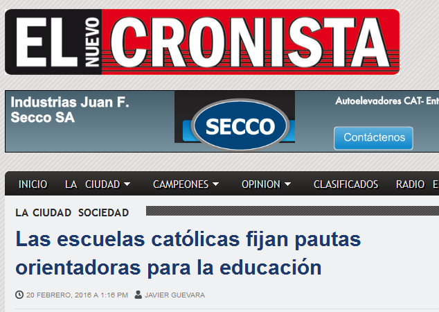 El Nuevo Cronista – Las escuelas católicas fijan pautas orientadoras para la educación