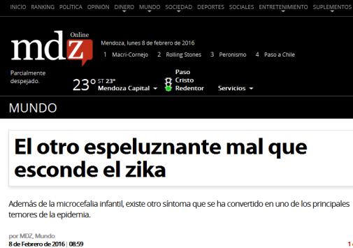 El otro espeluznante mal que esconde el zika - MDZ Online
