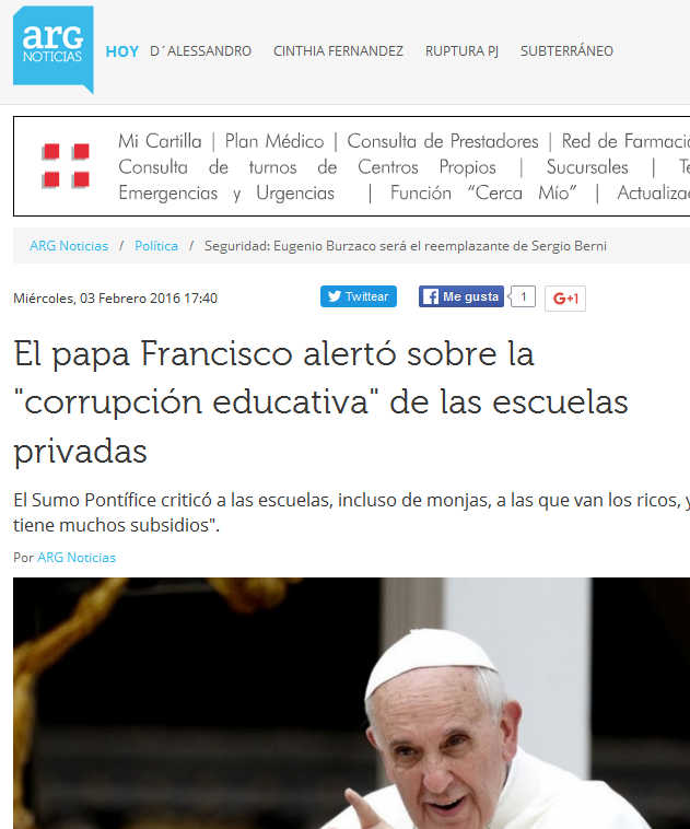 El papa Francisco alertó sobre la 'corrupción educativa' de las escuelas privadas - ARG Noticias