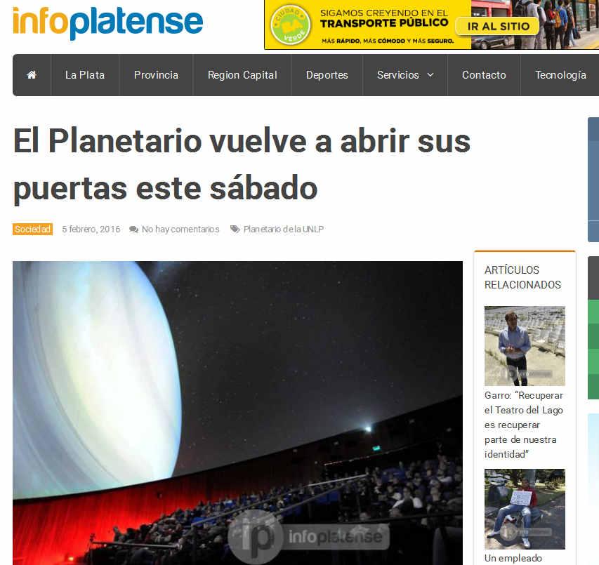 El Planetario vuelve a abrir sus puertas este sábado - Info Platense