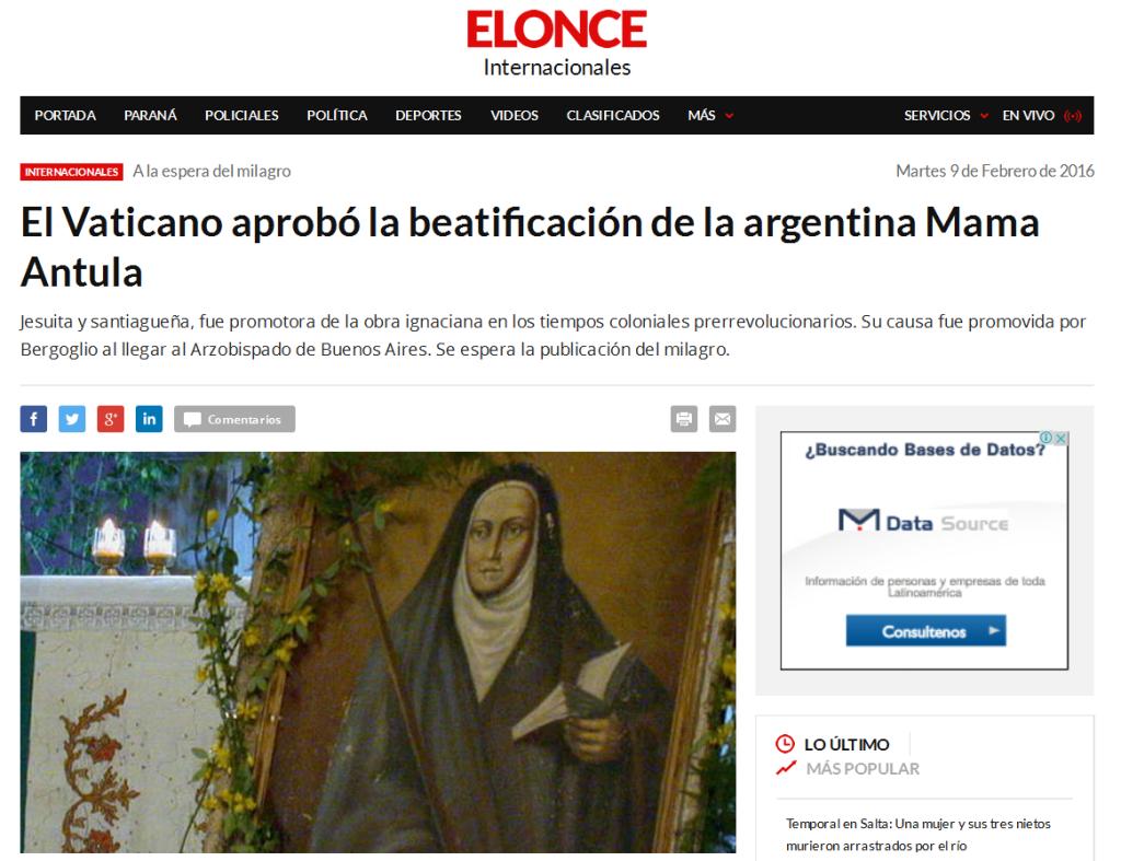 El Vaticano aprobó la beatificación de la argentina Mama Antula - Internacionales - Elonce.com