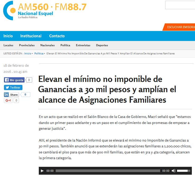 Elevan el mínimo no imponible de Ganancias a 30 mil pesos y amplían el alcance de Asignaciones Familiares - Radio Nacional Esquel