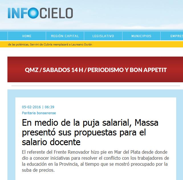 En medio de la puja salarial, Massa presentó sus propuestas para el salario docente - Infocielo - Toda la Provincia, un solo lugar.