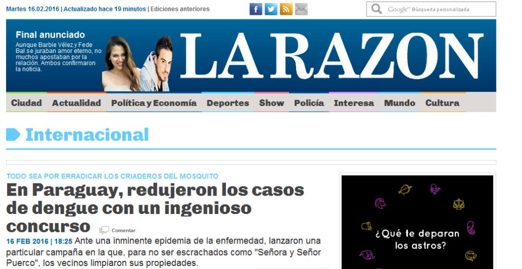 En Paraguay, redujeron los casos de dengue con un ingenioso concurso - La Razon