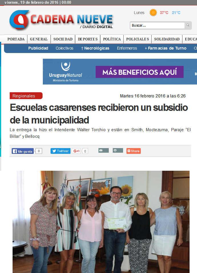 Escuelas casarenses recibieron un subsidio de la municipalidad
