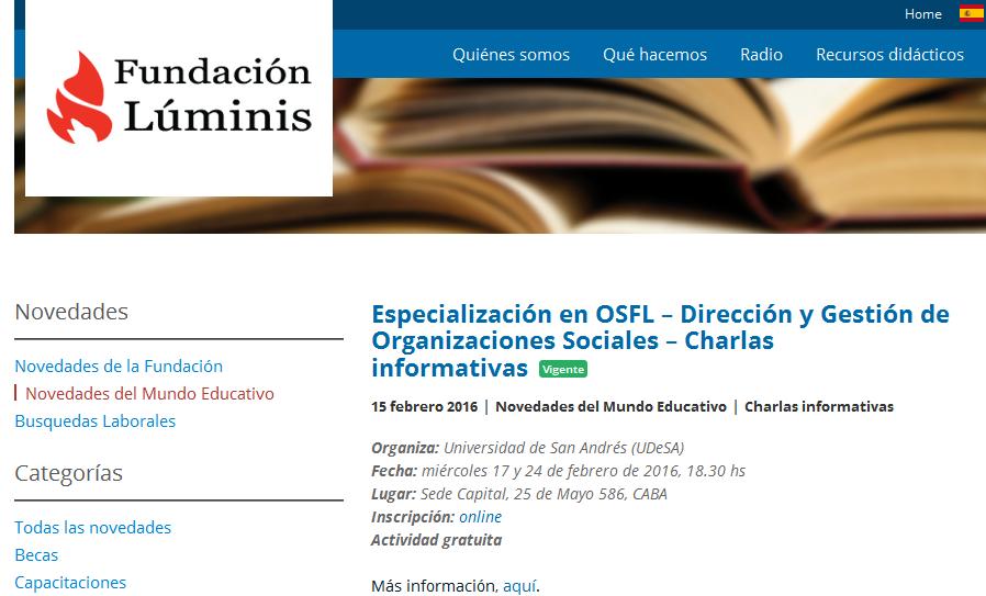 Especialización en OSFL - Dirección y Gestión de Organizaciones Sociales - Charlas informativas - Fundación Luminis