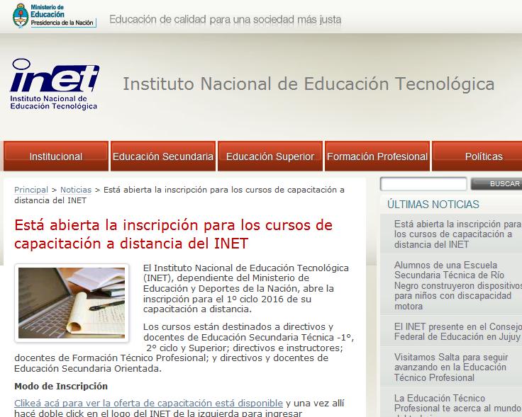 Está abierta la inscripción para los cursos de capacitación a distancia del INET - Instituto Nacional de Educación Tecnológica