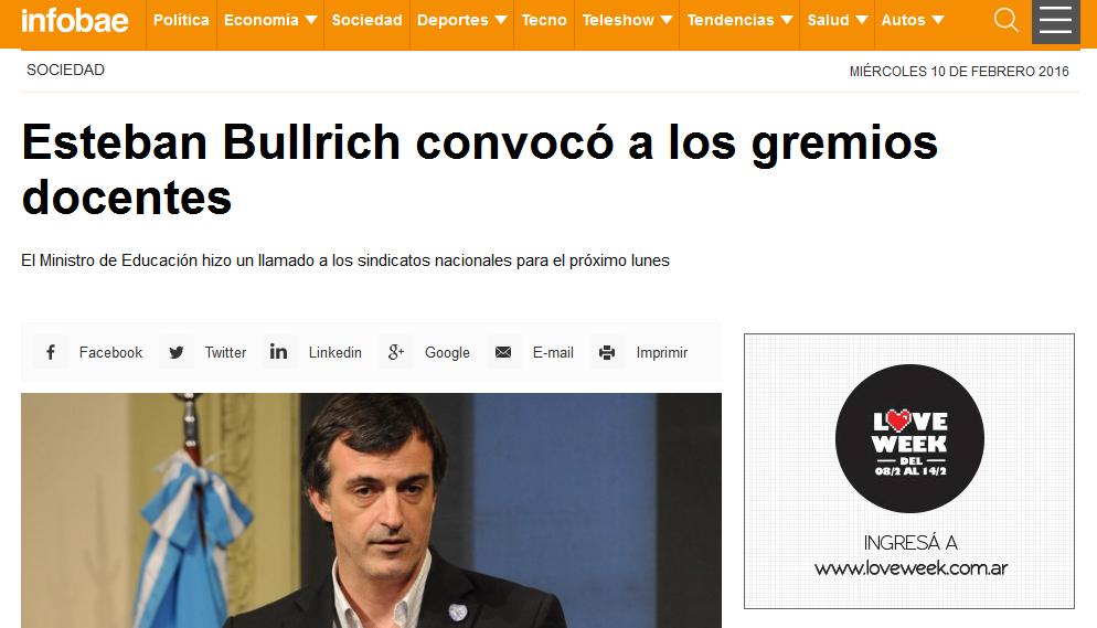 Esteban Bullrich convocó a los gremios docentes - Esteban Bullrich, Paritarias docentes - Infobae
