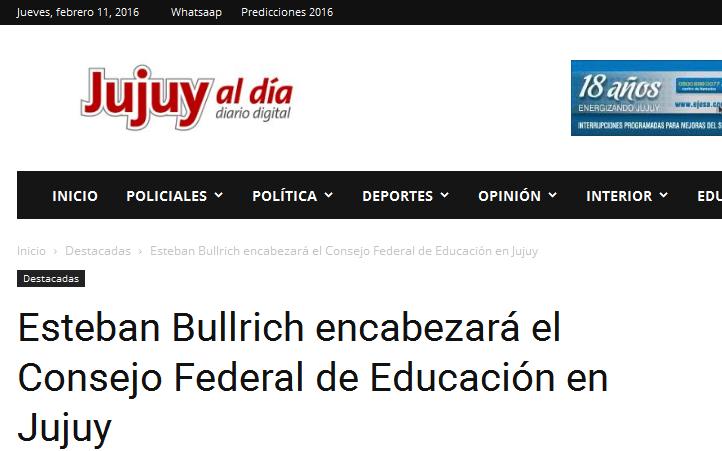 Esteban Bullrich encabezará el Consejo Federal de Educación en Jujuy - Jujuy al Día(1)