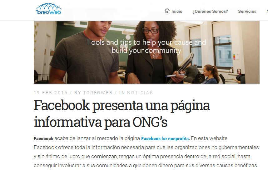 Facebook crea una página informativa para ONG's - ToreoWeb
