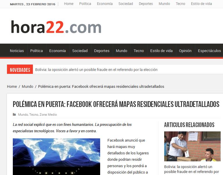 Facebook ofrecerá mapas - Hora 22