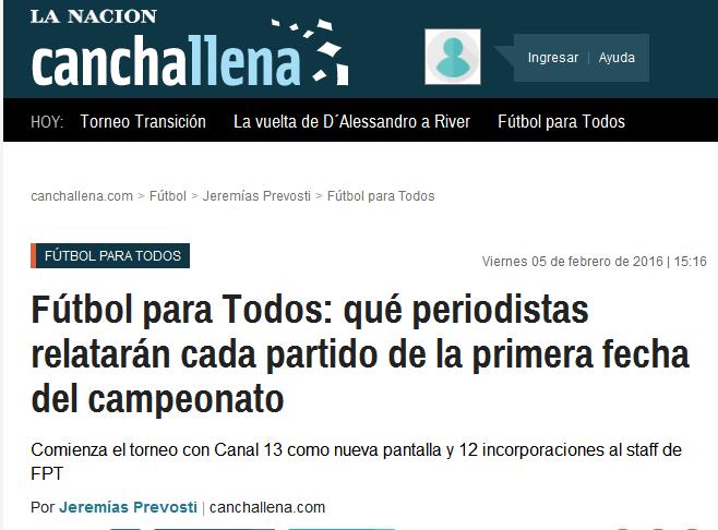 Fútbol para Todos qué periodistas relatarán cada partido de la primera fecha del campeonato - Fútbol para Todos - canchallena.com