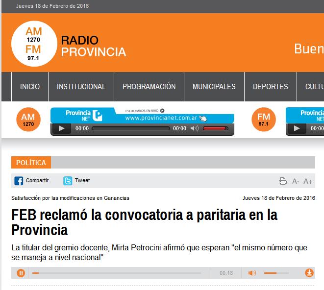 FEB reclamó la convocatoria a paritaria en la Provincia - Radio Provincia