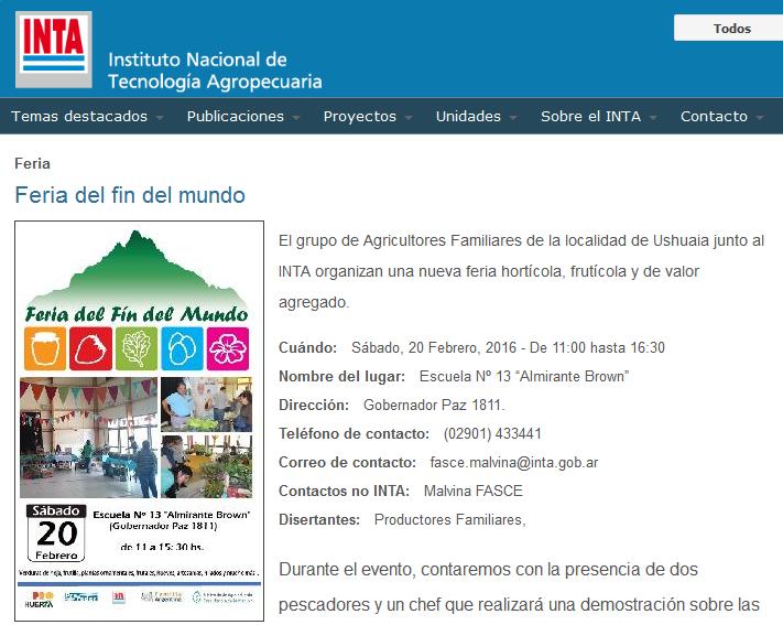 Feria del fin del mundo - INTA Instituto Nacional de Tecnología Agropecuaria