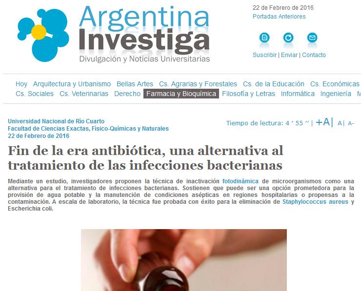 Fin de la era antibiótica, una alternativa al tratamiento de las infecciones bacterianas - Argentina Investiga